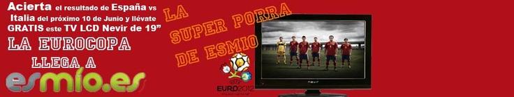 La EUROCOPA ya está cerca y la cuenta atrás ya ha empezado para poder ver a la selección española en acción. Y como queremos que sigas a la roja como si estuvieras en las gradas con la mejor calidad posible, en Esmio.es te regalamos una TV LCD Nevir si aciertas el resultado del primer partido que jugamos contra Italia el próximo 10 de Junio y se lo cuentas a todos tus amigos de facebook. http://www.esmio.es/blog/archives/3893