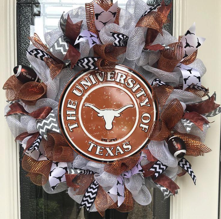 University of Texas Collegiate wreath, UT wreath, UT Austin, Longhorns, football wreath, baseball wreath, team spirit wreath by AnAdoorableWreath on Etsy