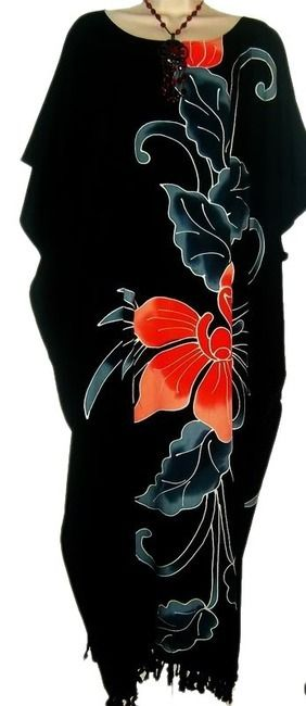 Beautiful Black Hand Painted Orchid Flower Buttersoft Long Kaftan Dress - Freesize - Cool Kaftans