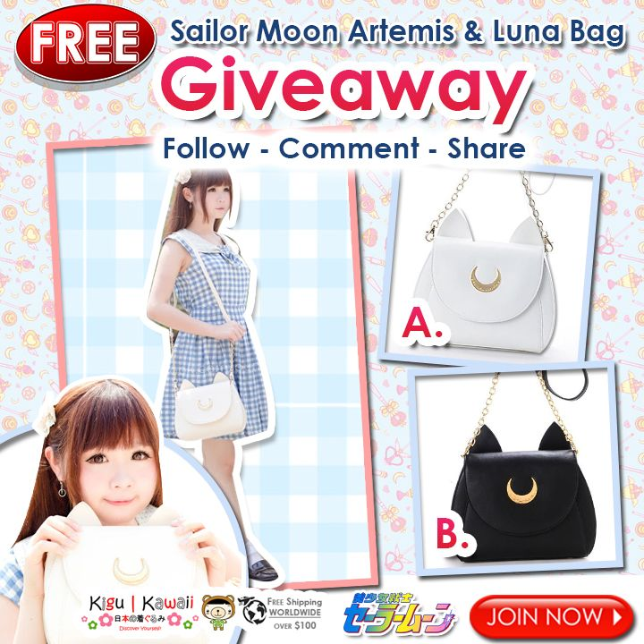 ★ FREE Sailor Moon Bag GIVEAWAY ★ Check this amazing product here: http://bit.ly/1YtR3x1 Promo runs from September 23 - October 1 2015. 1 lucky winner will receive a Sailor Moon bag. We will announce the winner on October 2, 2015 on our Official Social Media accounts. JOIN NOW ► http://on.fb.me/1V943ZL  ‪#‎KiguKawaii‬ ‪#‎giveaway‬ ‪#‎cosplay‬ ‪#‎kawaii‬ ‪#‎cute‬ ‪#‎free‬ ‪#‎SailorMoon‬ ‪#‎Luna‬ ‪#‎Artermis‬ ‪#‎bag‬