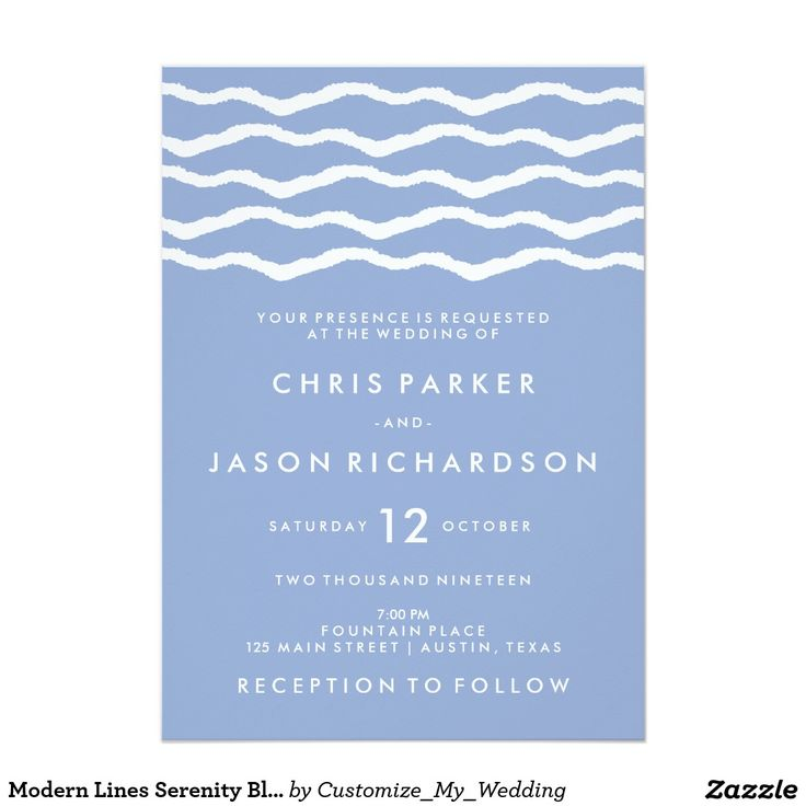 Modern Lines Serenity Blue and White Wedding 5x7 Paper Invitation Card