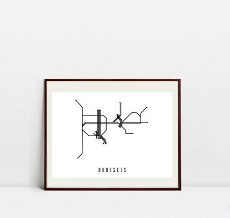 Brussels Metro Map - Black and White Art Print - Digital Download Art Print by Postery on Etsy