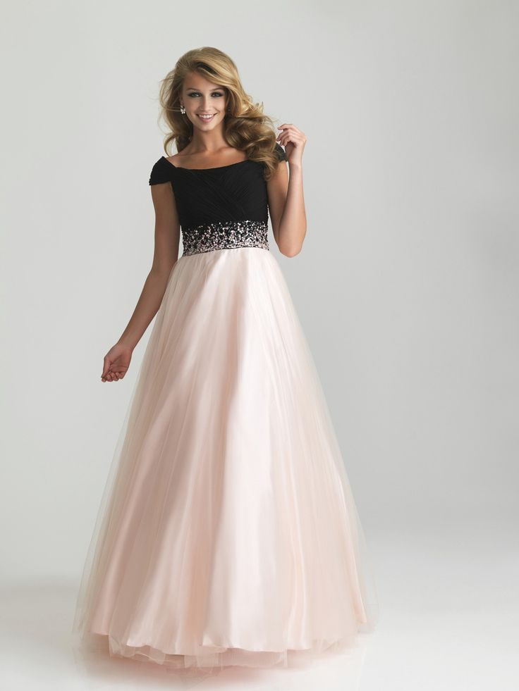 modest prom dresses with sleeves   More Picture For modest prom dresses night moves cap sleeve gown 6582m ...