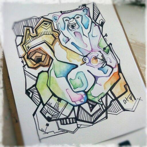Мишки, графика, акварель