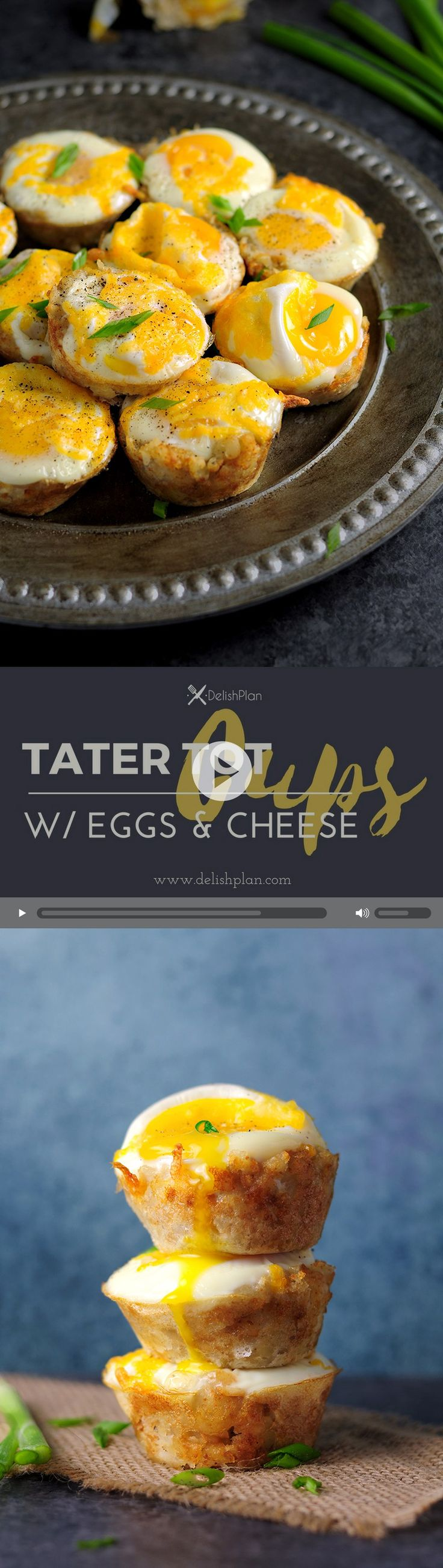 Eggs and Cheese baked with tater tots in a muffin pan, those tater tot cups are great breakfast and they are easy to make. Watch the video to learn how.