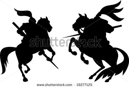 Knights with lances - stock vector #knight #silhouette #illustration