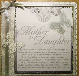 card from mother to daughter on wedding