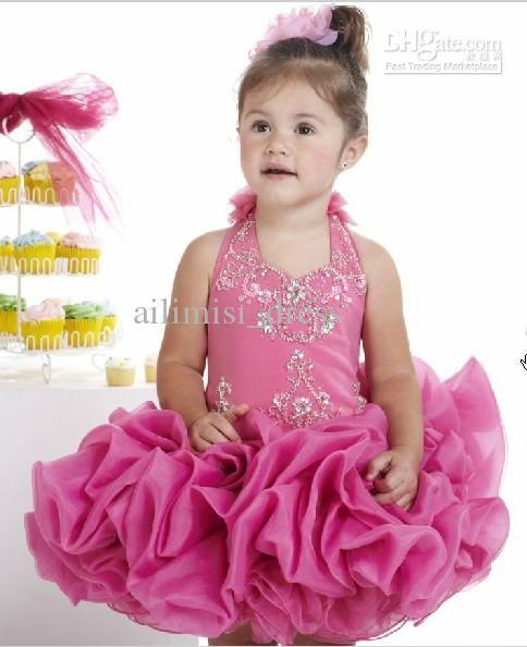 Wholesale Halter ballerina multi layer Organza flower girl dresses Pageant Dresses Short skirt brithday dress, Free shipping, $50.16-75.24/Piece | DHgate