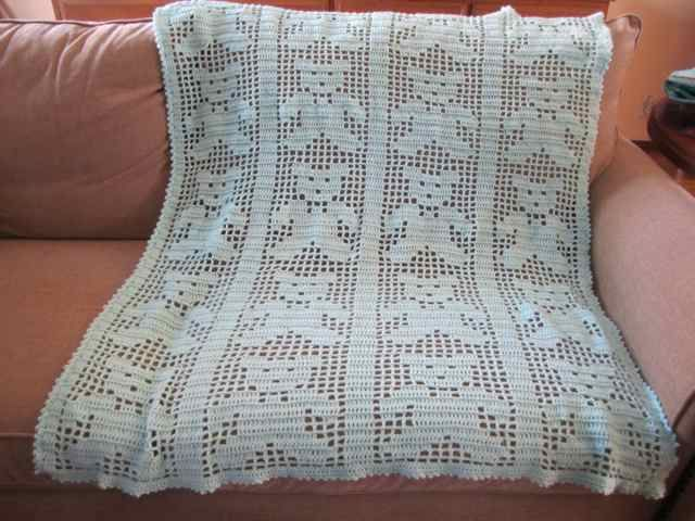 """I made this crocheted Baby Bear blanket - The type of crocheting is """"Filet Crochet""""!"""