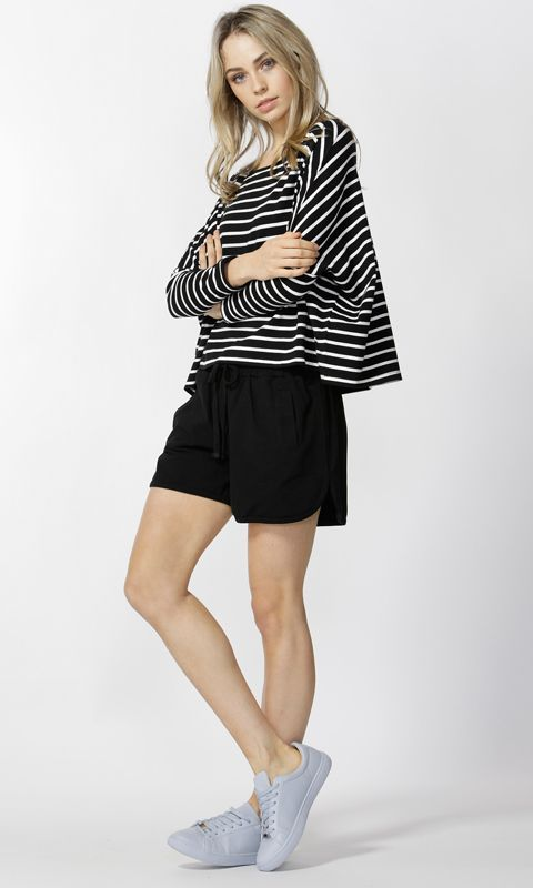 Betty Basics - Hailey Top In Black/Ivory Stripe B