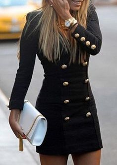 Solid Color Double-Breasted Fashionable V-Neck Long Sleeve Women's Dress