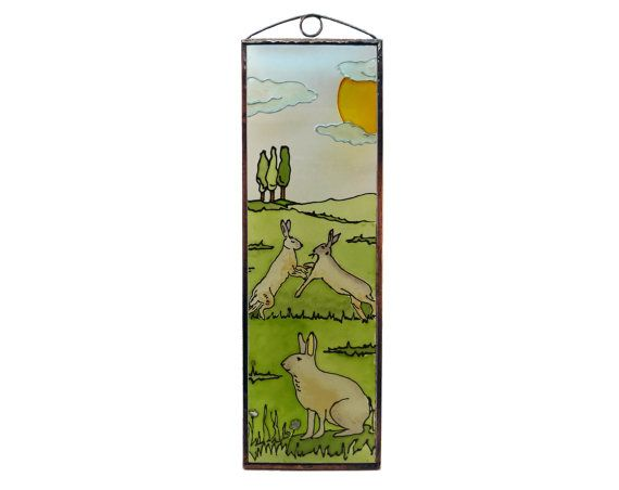 Rabbits - Hunting - Painted Glass