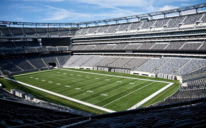 Download wallpapers MetLife Stadium, New York Jets, East Rutherford, New York, USA, football stadium, NFL, 4k