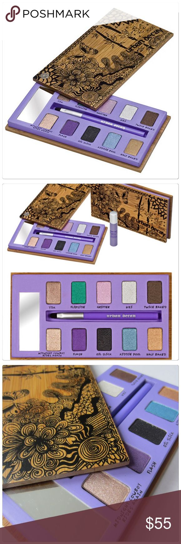🆕 Urban Decay Sustainable eyeshadow box + primer Urban Decay Sustainable shadow box. Packaged in a unique wooden box. Comes with 10 eyeshadow shades. Includes a travel size primer potion and brush. Brand new. Urban Decay Makeup Eyeshadow