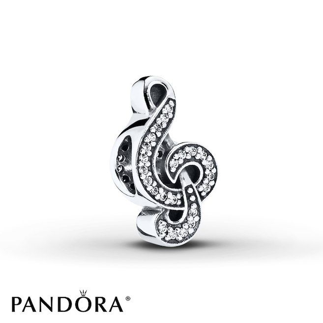 A treble clef traced in sparkling clear cubic zirconias creates this delightful sterling silver charm from the PANDORA Autumn 2014 collection. Style # 791381CZ.