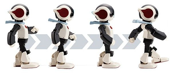 Build your own Robi robot with weekly magazine subscription. Robi walks using patented 'SHIN-WALK' technology developed by Tomotaka Takahashi.
