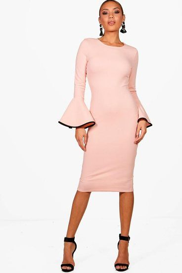Ella Contrast Flared Sleeve Midi Dress by Boohoo. Dresses are the most-wanted wardrobe item for day-to-night dressing. From cool-tone whites to block brights, we've got the everyday skater dresses and party-ready bodycon styles that are perfect for transitioning from day to play. Minis,... #boohoo #dresses
