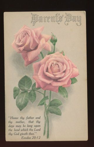 Parent's Day Postcard With Rose~ Honor Thy Father & Mother