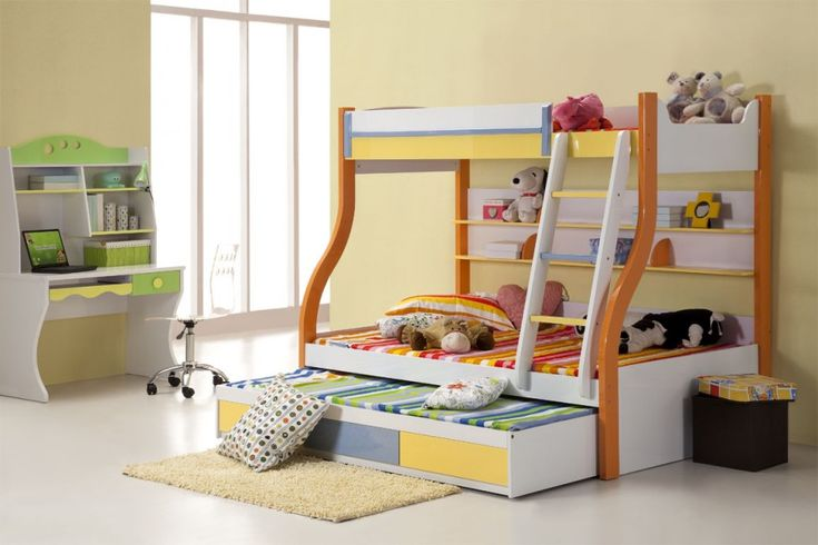 Bedroom:Astounding Colorful Modern Bunk Bed Idea With Rainbow Mattresses And Trundle Also Dolls Decor Modern Bunk Bed Ideas – Make Child's Room Safe and Fun