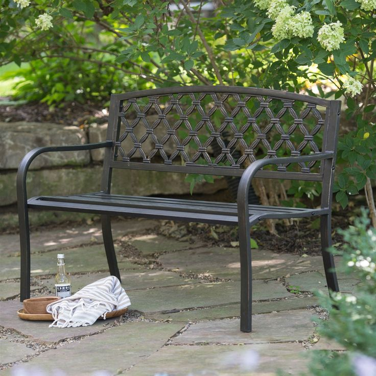 Curved Metal Garden Bench Part - 20: 4-Ft Curved Back Metal Garden Bench In Weathered Black With Antique Bronze  Highlights