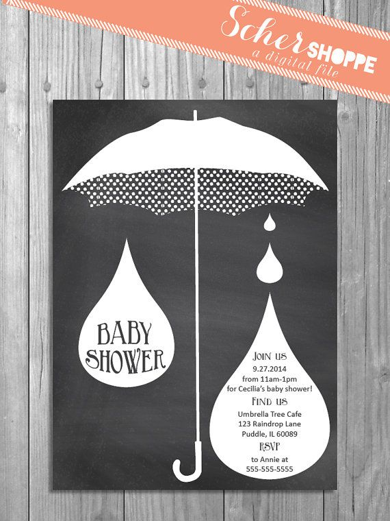 Chalkboard Raindrops and Umbrella Baby Shower Invitation for Boy or Girl // Rustic Neutral Shower Invite // digital, printable, custom