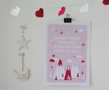Pink Twinkle Twinkle. A4 print. Design Sara Vestberg.