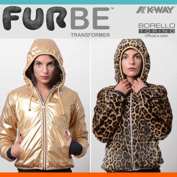 Furbe Transformer by Borello Torino official e-tailer K-way. Reversible K-Way Jacket Trasforma la tua pelliccia in un capo nuovo ed esclusivo #fur #kway #jacket #reversible #winter #fashion #furbe #pelliccia #Torino #moda #gold