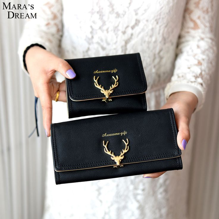 Mara's Dream 2016 Fashion Wallet Female Women Purse Long Zipper Solid Candy Color Metal Christmas Deer Wallets PU Card Holders