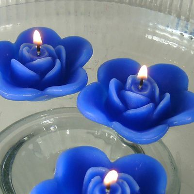 12 Blue Floating Rose Wedding Candles For Table Centerpiece And Reception  Decor.