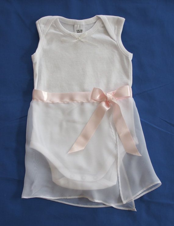 This adorable Ballerina onesie has a chiffon skirt with adjustable tie.  Available at keb4kids on Etsy