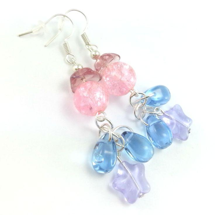 Kolczyki szklane koraliki różowo fioletowe