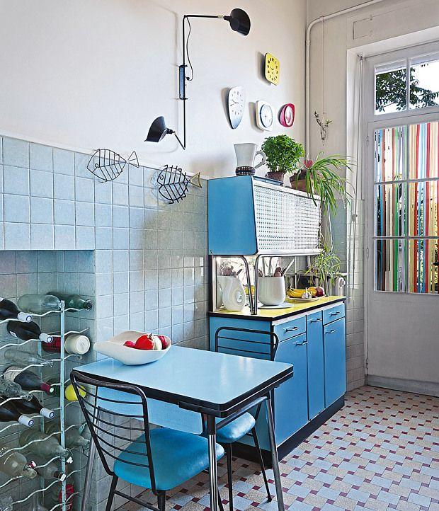 Almost untouched since the 1950s, the Marseille apartment of vintage furniture   restorers Virginie and Jean-Baptiste Moutte is an object lesson in how to do   colourful retro chic