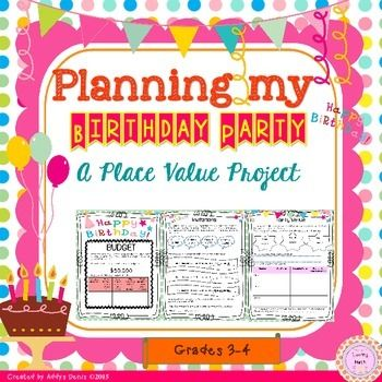 This project was created to allow students to practice place value in an engaging and fun way by by planning their birthday party.Skills included:RoundingComparing NumbersWord FormExpanded FormStandard FormPlacing Numbers on a Number LinePlace ValueOrdering NumbersThis project is sure to get your students excited.