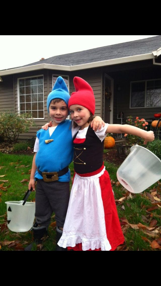 Handmade Gnomeo & Juliet costumes for brother & sister