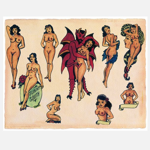 Getting tattooed girls naked Sketched