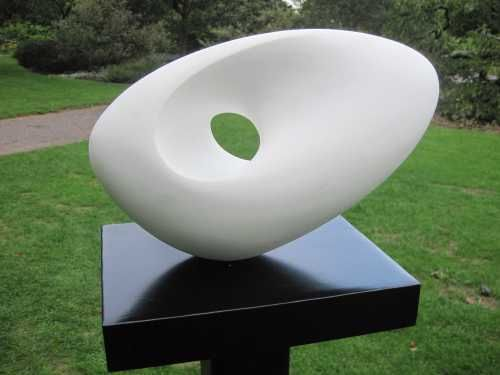 Jesmonite on steel/gessoed plaster on marble on steel Garden Or Yard / outside and Outdoor sculpture by artist Rosemarie Powell titled: 'Day Breaks over the Ocean (Abstract Contemporary Indoor statuaryl stat)'
