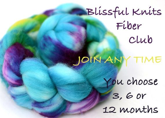 fiber club - hand dyed luxury wool, silk or bamboo roving - 12 month membership - blissful knits club