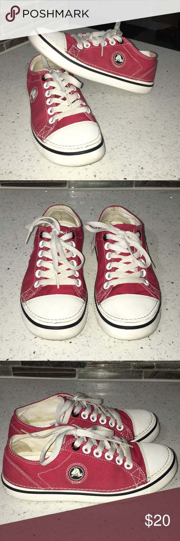 Women's Crocs Sneakers Women's Crocs brand Sneakers  Color is red and size 7 Unique pair of shoes 😃 Gently worn and in good condition.  Comes from a smoke/pet free home.  Happy Poshing! CROCS Shoes Sneakers