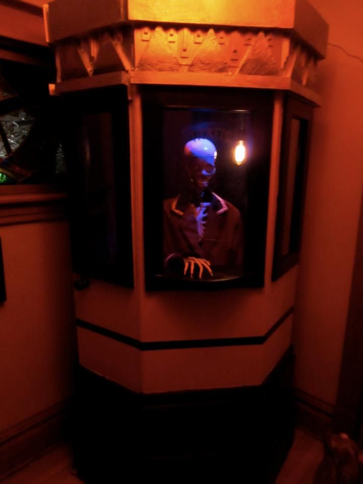 our skeleton had a talking skull from fright props a motion sensor triggered a welcome message with a short history of the historic burdick cinema - Halloween Movie History
