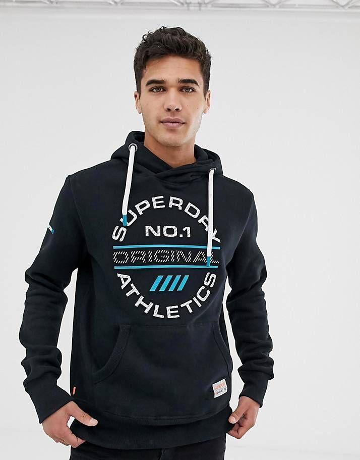 superdry hoodie mens black