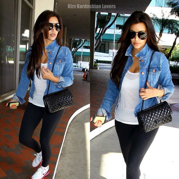 Sneakers,black tights, white t-shirt, denim jacket, fancy bag.