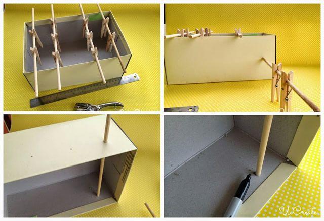 Planeje os furos na caixa por onde as varetas irão passar