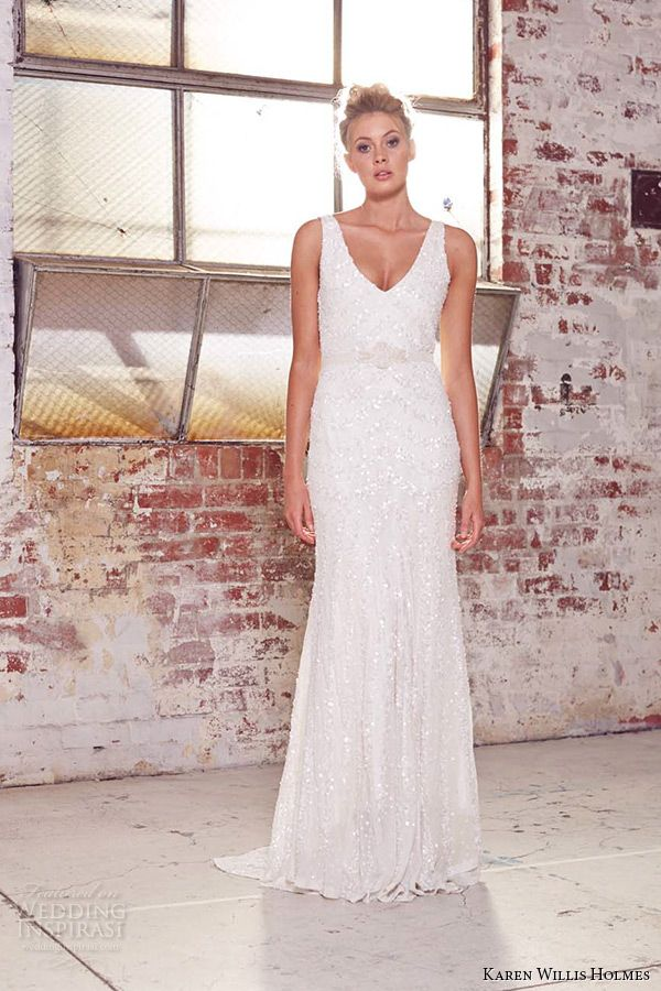 kwh by karen willis holmes 2015 bridal sleeveless v neck beaded ribbon belt sheath wedding dress aster