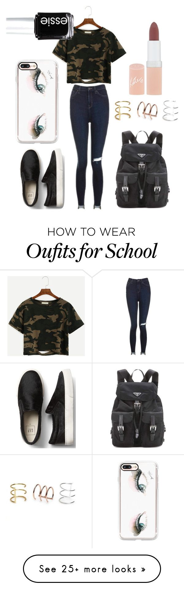 """TO SCHOOL!"" by amirah-lockett on Polyvore featuring Topshop, Casetify, Prada, Bing Bang, Rimmel and Essie"