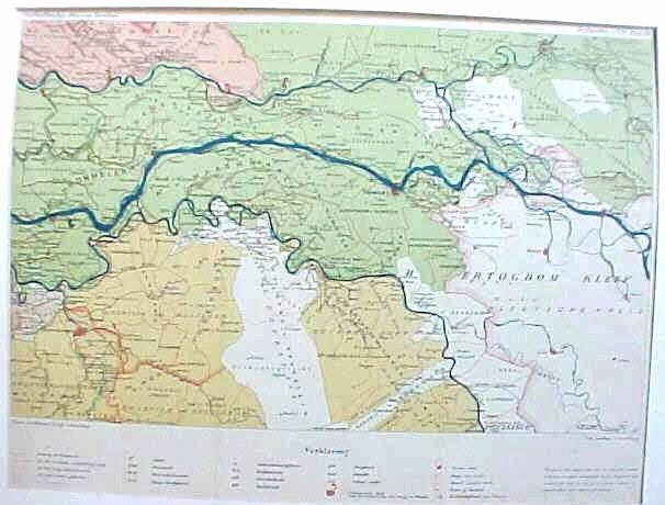 Topografische kaart van Zuidoost Gelderland tijdens de republiek in 1795. Litho, Nijhhoff uit Atlas Nederland de Republiek 1795.