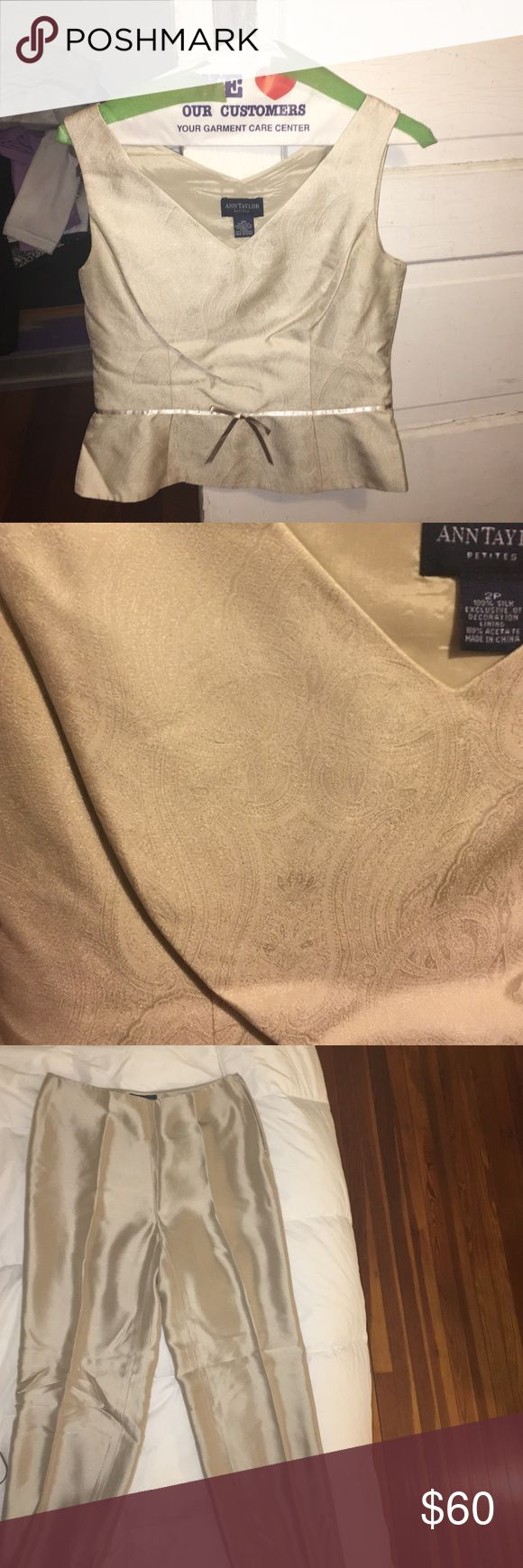 Beautiful beige two piece , with silk pants Beautiful beige two piece set. Pantsuit, with very nice silk bottoms and a v neck top. Would look wonderful at a formal gathering with some nice heels Ann Taylor Other