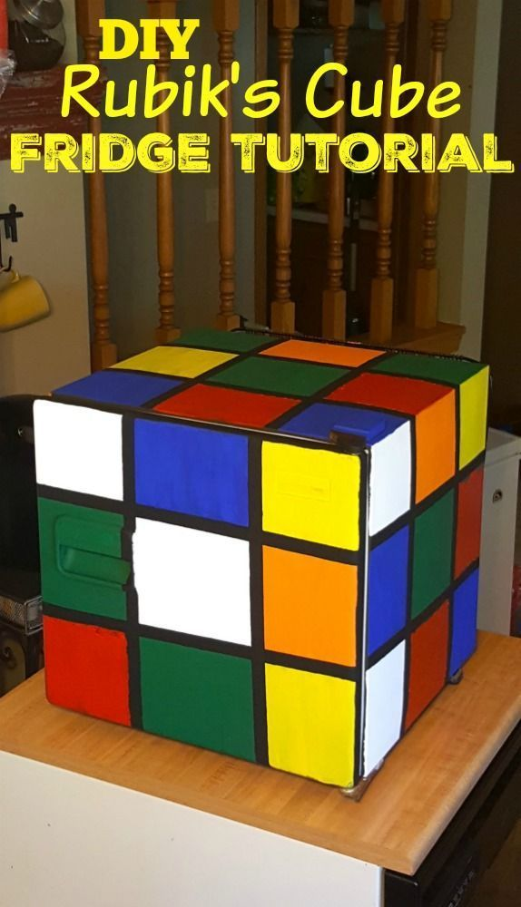 DIY Rubik's Cube Fridge Tutorial - SO cool for back to school college dorms & apartments, teacher lounges, math geeks, man caves and anyone else who loves Rubik's Cubes! SO simple and she shows you 2 ways to do it!