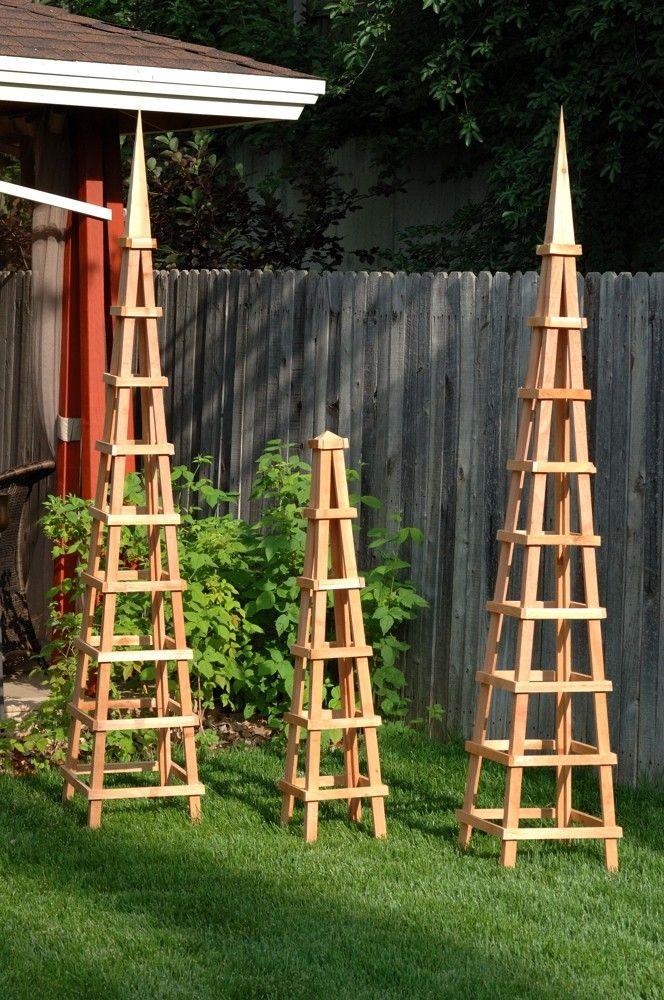 Wood garden obelisk trellis woodworking projects plans for Wooden garden arbor designs