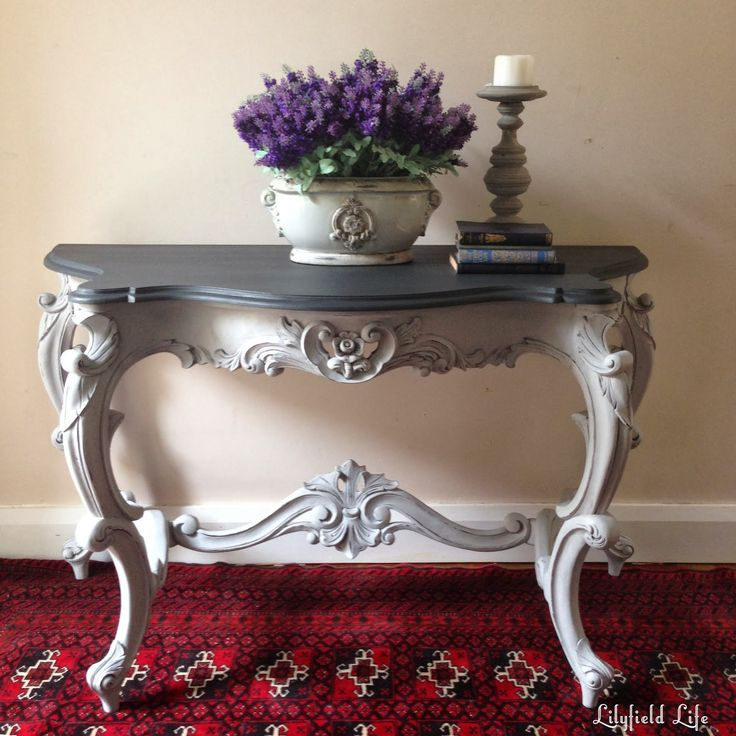 Painted french console in ascp graphite and paris grey by for Provence mobiliario