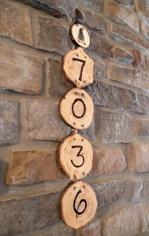 Wooden woodburned Pine Tree House Numbers from FromTheWoodsDesigns on Etsy!